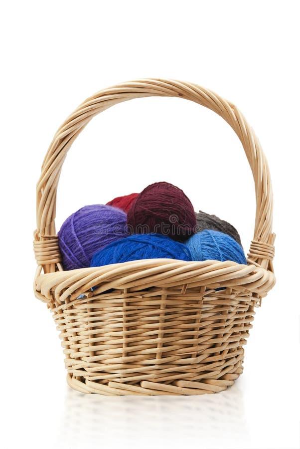 与羊毛的秸杆篮子 免版税图库摄影