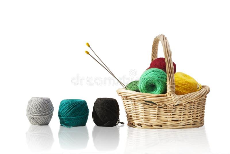 与羊毛的秸杆篮子 免版税库存照片
