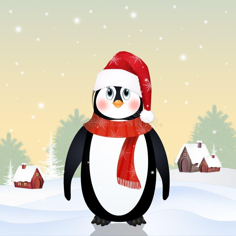 与羊毛盖帽和围巾的企鹅 向量例证