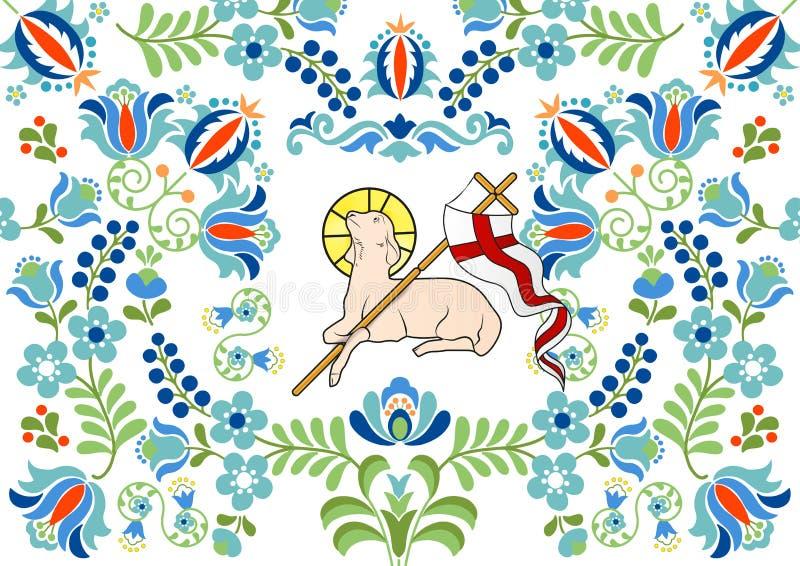 与羊羔的传统民间样式复活节的 库存例证