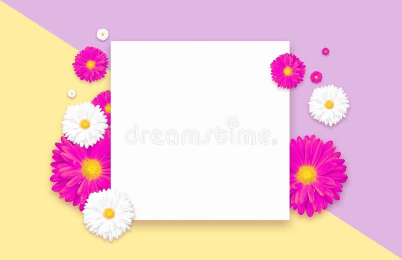 与美丽的五颜六色的花的背景 贴墙纸飞行物,邀请,海报,小册子,证件折扣 免版税库存照片