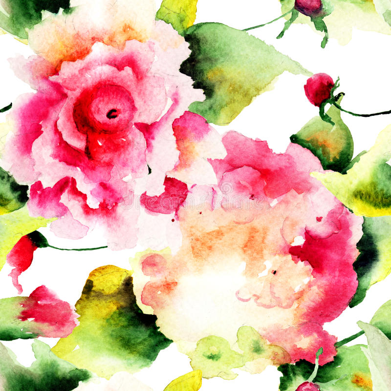 与美丽的八仙花属和玫瑰的无缝的样式开花 向量例证