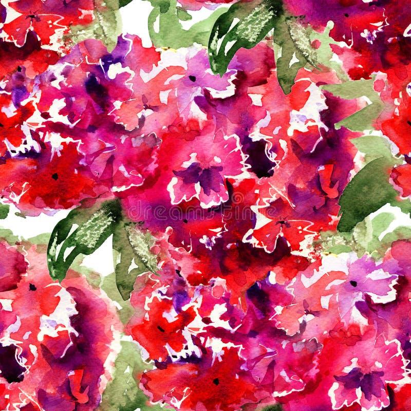 与美丽的八仙花属红色花的无缝的墙纸 库存例证