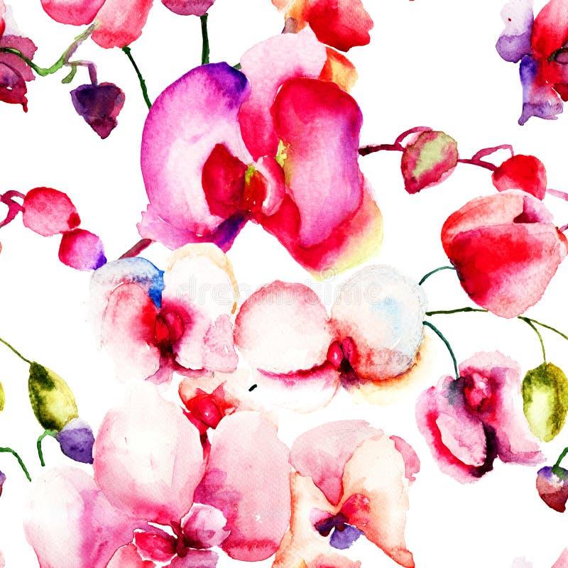 与美丽的兰花花的无缝的样式 库存例证
