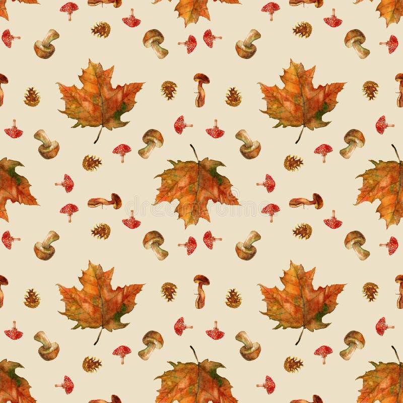 与美丽的叶子的秋天构成 库存例证