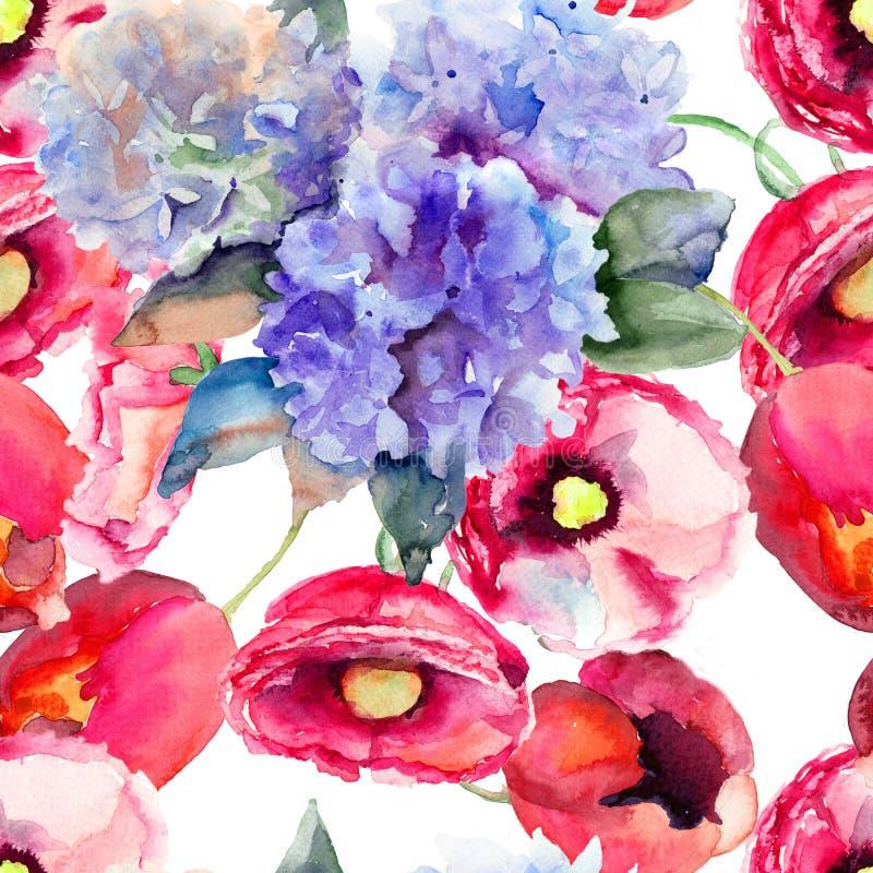 与美丽的夏天花的无缝的墙纸 皇族释放例证