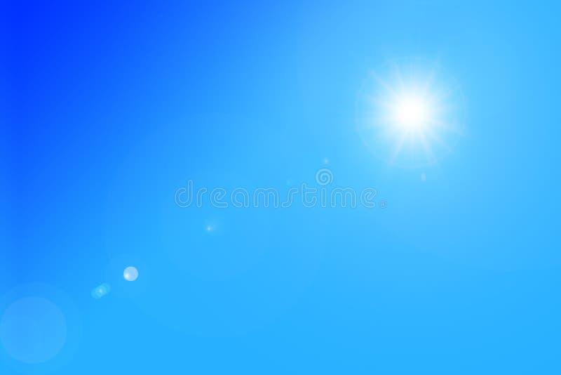 与美丽的太阳的明亮的天空蔚蓝天背景的 库存照片