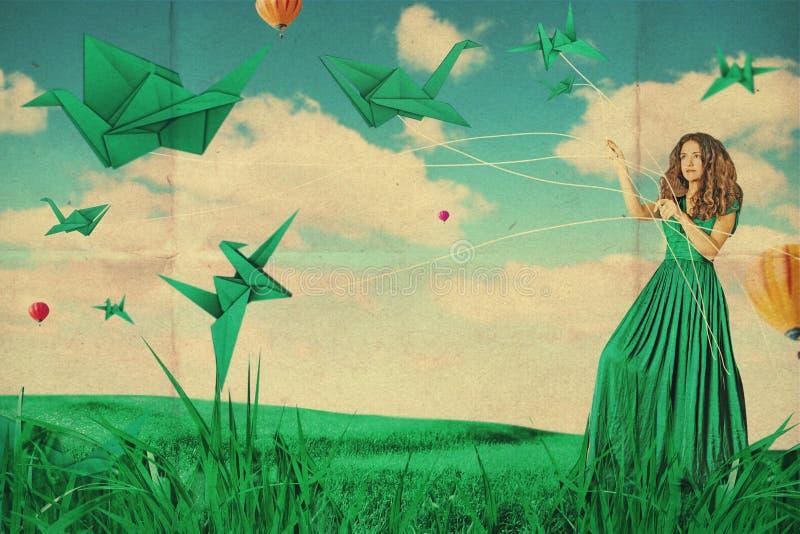 与美丽的妇女,创造性的工作的艺术拼贴画 免版税库存图片
