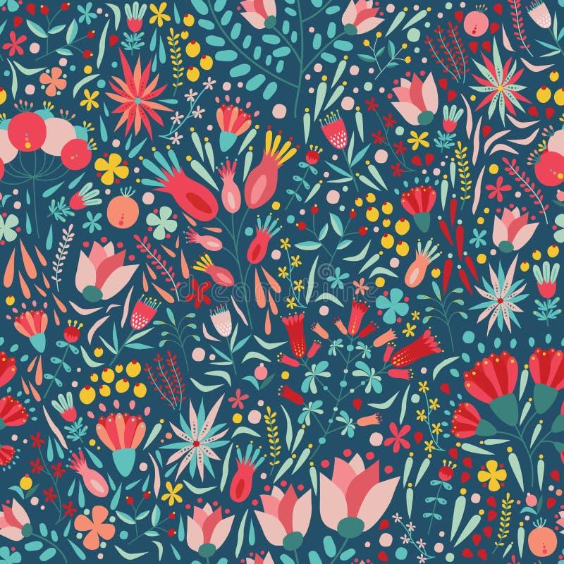 与美丽的开花的五颜六色的花的花卉无缝的样式在黑暗的背景 背景与华美的夏天 皇族释放例证