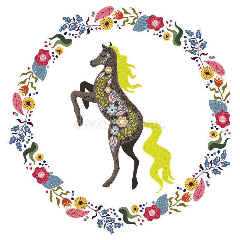 与美丽的抽象民间马和花卉花圈的艺术传染媒介五颜六色的被隔绝的例证在白色背景 向量例证