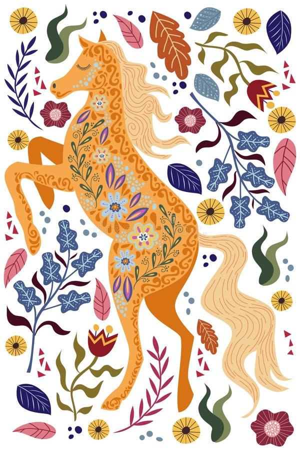 与美丽的抽象民间马和花的艺术传染媒介垂直的五颜六色的例证 向量例证