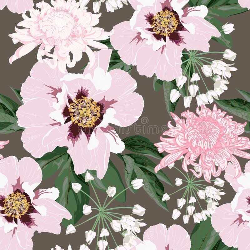 与美丽的桃红色牡丹和菊花花的花无缝的样式在葡萄酒褐色背景模板 向量例证