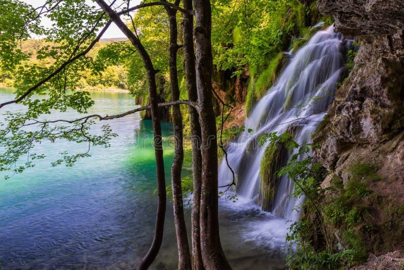 与美丽的瀑布的风景在普利特维采湖群国家公园,克罗地亚 免版税库存照片