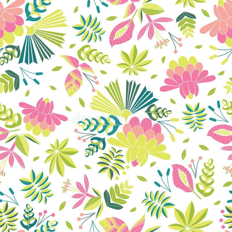 与美丽的热带花的刺绣无缝的传染媒介样式 明亮的在白色背景的传染媒介民间花饰 库存例证