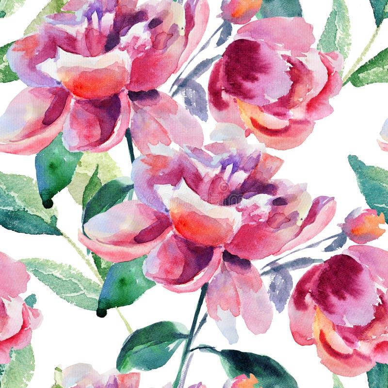 与美丽的牡丹花的无缝的墙纸 库存例证