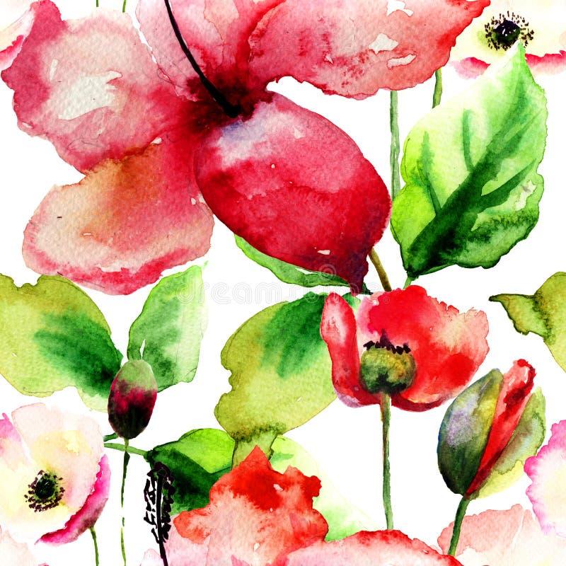 与美丽的百合和鸦片的无缝的样式开花 向量例证