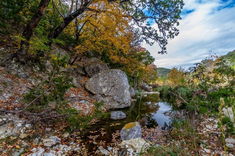 与美丽的秋叶的一个美丽如画的场面在失去的槭树国家公园的一条平静的胡说的溪在得克萨斯。 免版税库存照片