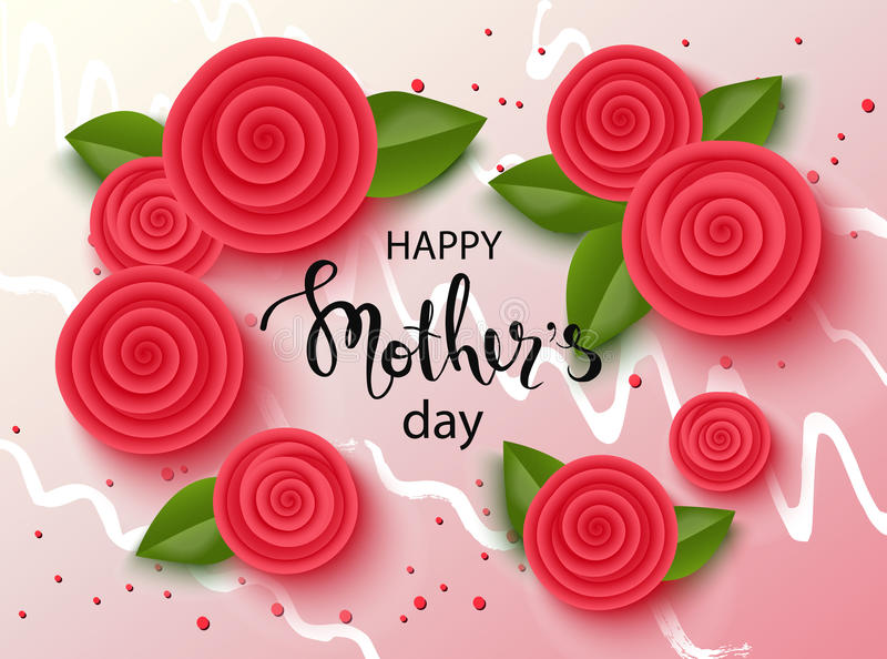 与美丽的花的愉快的母亲节背景 与手拉的字法的贺卡 也corel凹道例证向量 库存例证