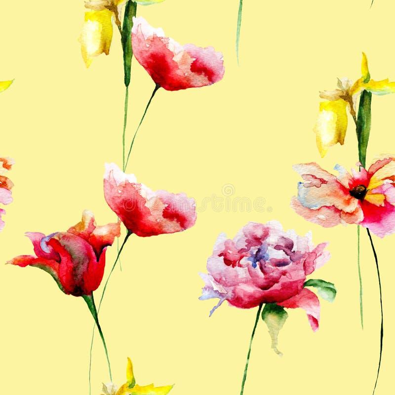 与美丽的花的无缝的样式设计的 库存例证