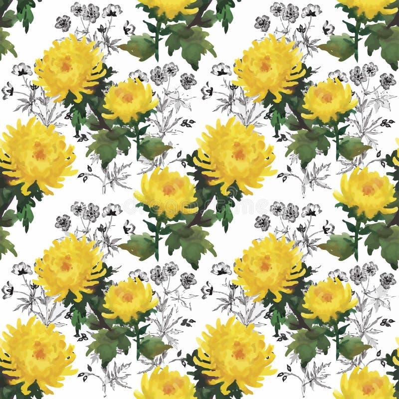 与美丽的花的无缝的样式,水彩绘画 皇族释放例证