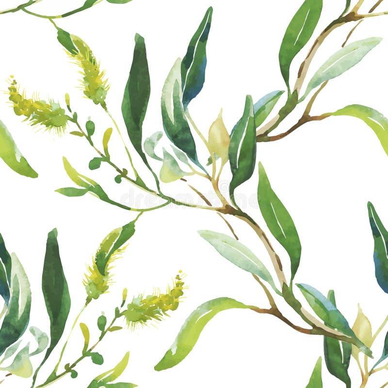 与美丽的花的无缝的样式,水彩绘画 库存例证