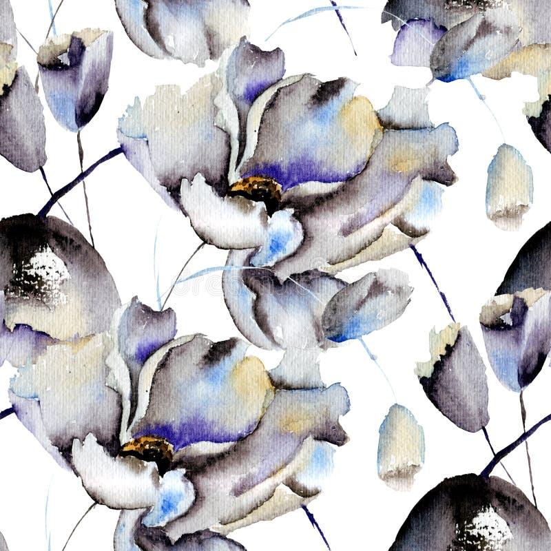 与美丽的花的无缝的样式 向量例证
