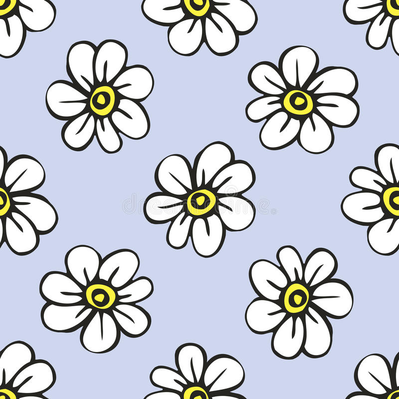 与美丽的花的无缝的模式 库存例证