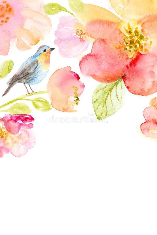 与美丽的花的花卉水彩背景 向量例证