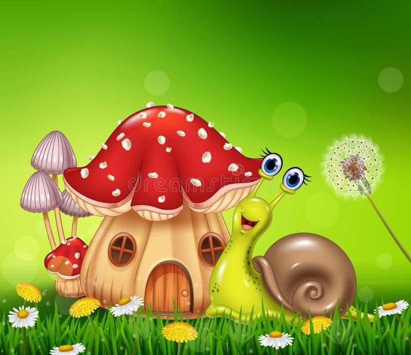 与美丽的蘑菇房子的愉快的蜗牛 向量例证