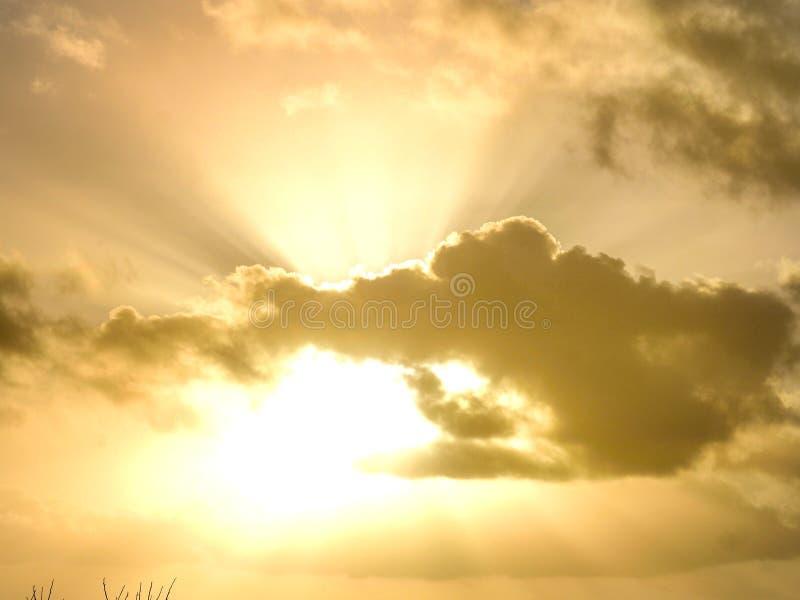 与美丽的金天空和云彩的日落时间 免版税库存图片