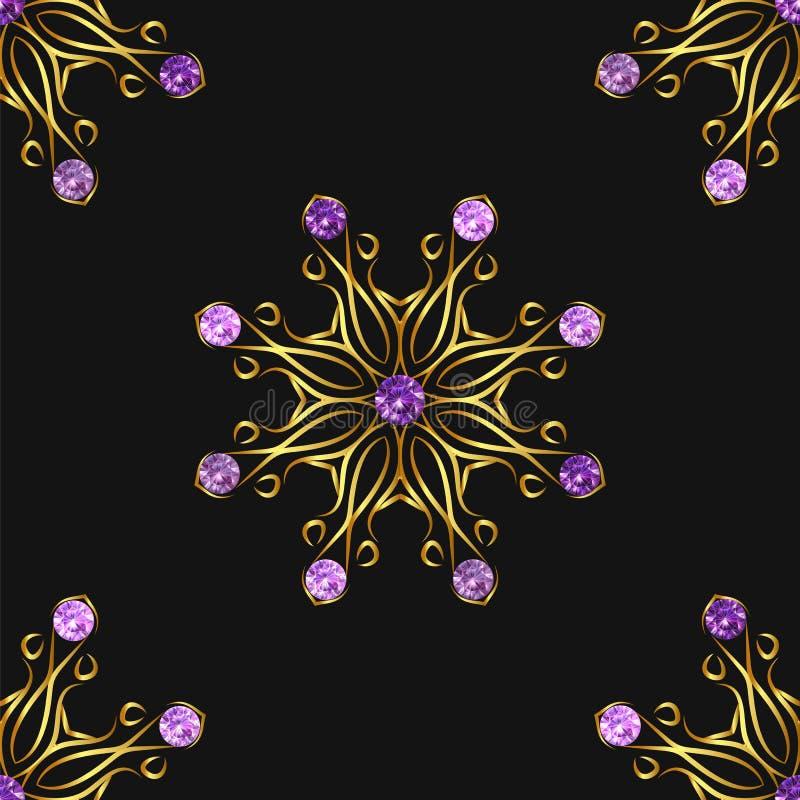 与美丽的金黄装饰品和紫色宝石的无缝的样式在黑背景 传染媒介花卉坛场 向量例证