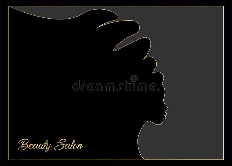 与美丽的长的头发女孩,黑人妇女剪影的发型概念 与重读的金子的豪华设计 设计观念f 皇族释放例证