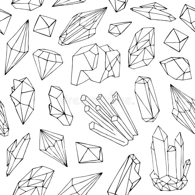 与美丽的雕琢平面的宝石的单色无缝的样式 库存例证