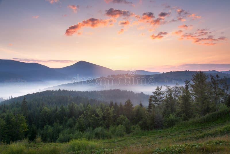 与美丽的雾和云彩的惊人的日出山风景 库存图片