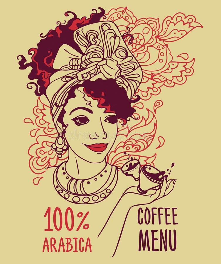 与美丽的非裔美国人的妇女和咖啡杯的横幅 向量例证