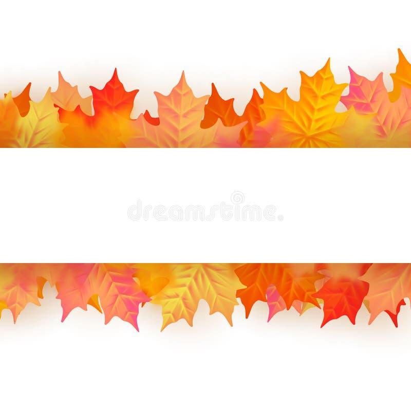 与美丽的颜色叶子的秋天海报 10 eps 皇族释放例证