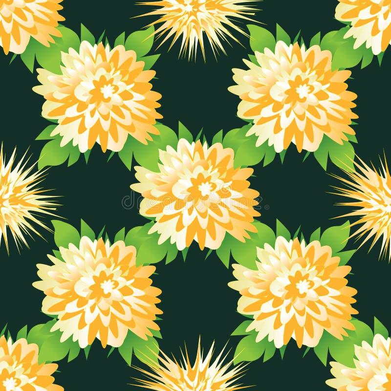 与美丽的黄色大丽花和菊花的无缝的花卉样式 向量例证