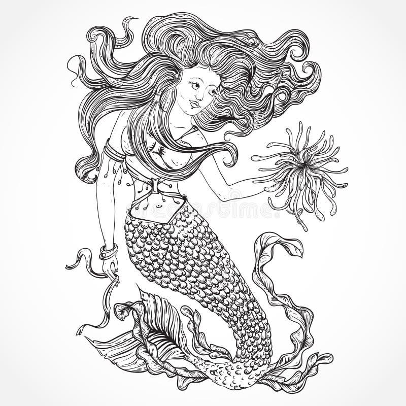 与美丽的头发和海洋植物的美人鱼 纹身花刺艺术 减速火箭的横幅,邀请,卡片,小块售票 T恤杉,袋子,明信片, p 皇族释放例证
