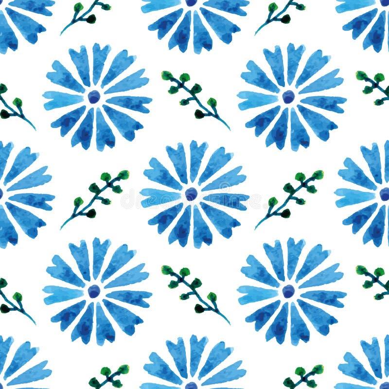 与美丽的水彩矢车菊的无缝的样式 蓝色花 您的设计和装饰的背景 皇族释放例证