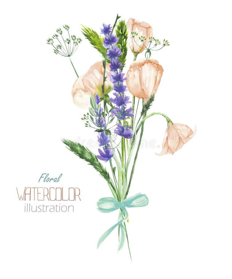 与美丽的水彩野花和淡紫色的花束的一个例证开花,手拉在水彩 库存例证