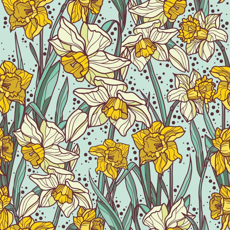 与美丽的水仙的无缝的样式在马赛克样式开花 库存例证