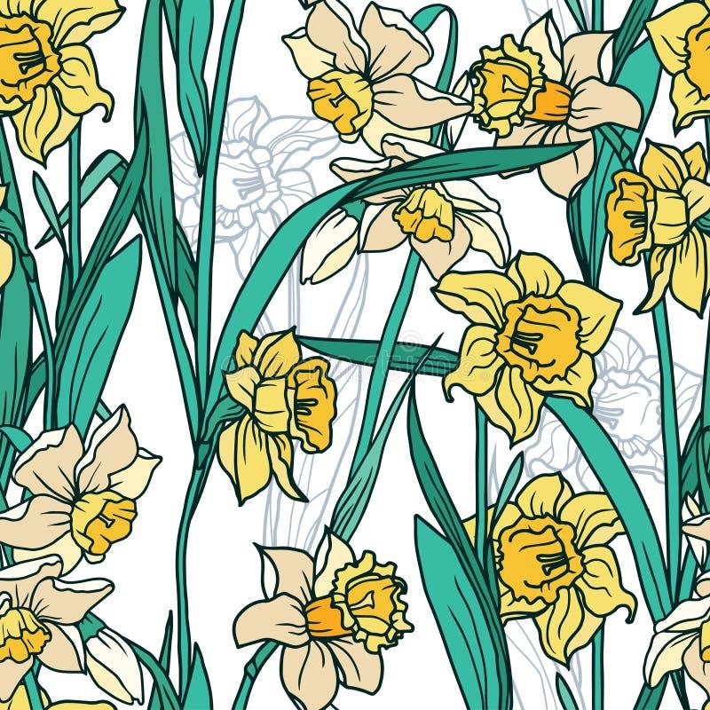 与美丽的水仙的无缝的样式在马赛克样式开花 向量例证