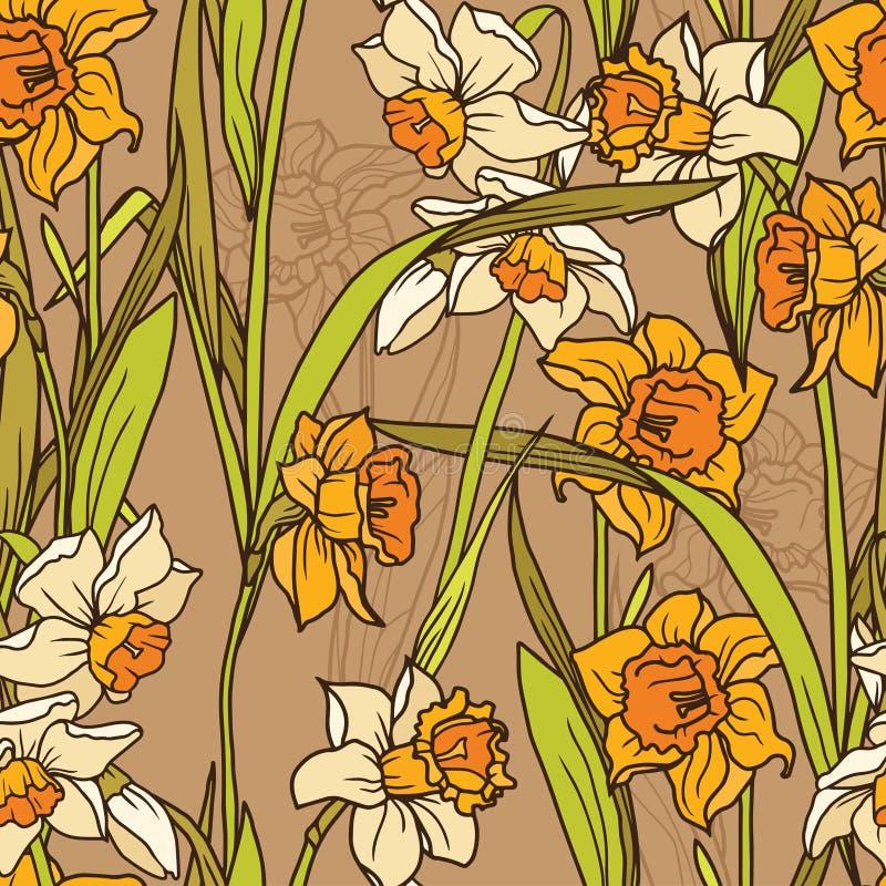 与美丽的水仙的无缝的样式在马赛克样式开花 皇族释放例证