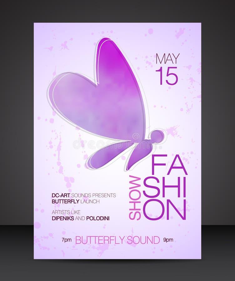 与美丽的蝴蝶紫色水彩剪影的时装表演飞行物  库存例证