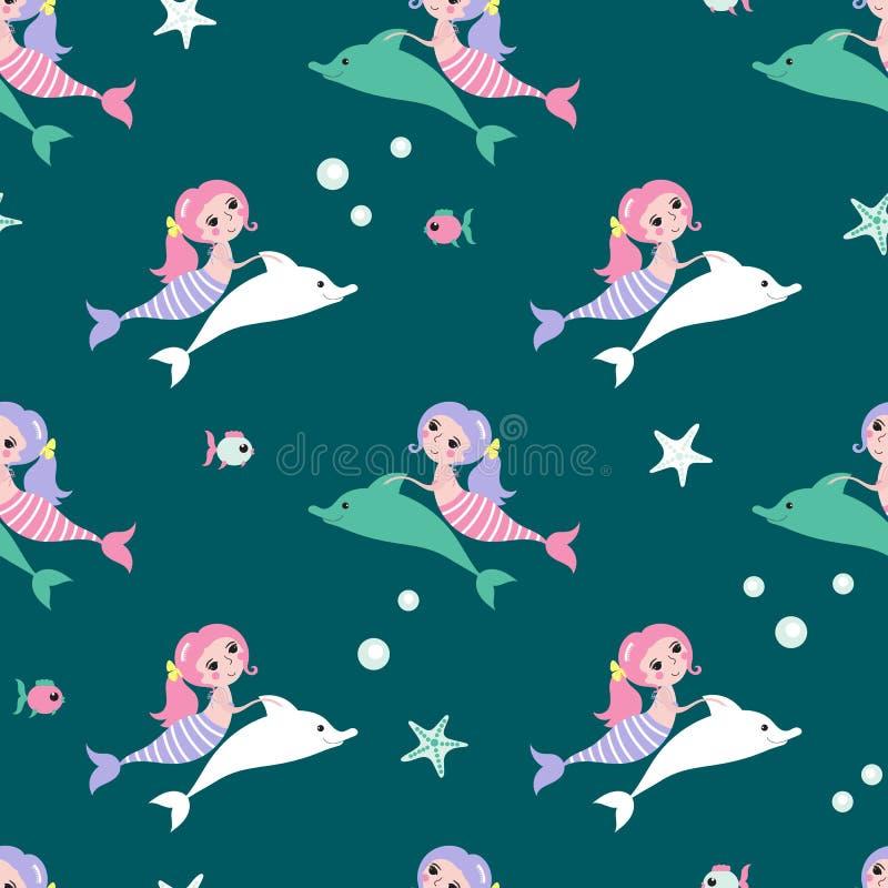 与美人鱼和海豚的无缝的背景 向量例证