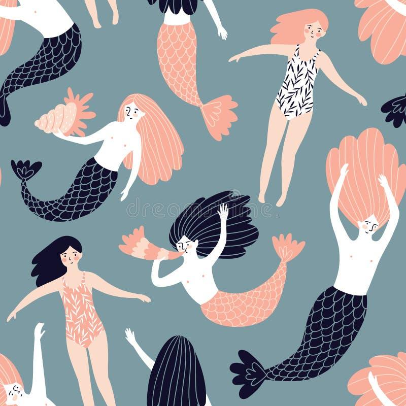 与美人鱼和游泳女孩的逗人喜爱的手拉的无缝的样式 织品的,套纸不可思议的不尽的设计 向量例证