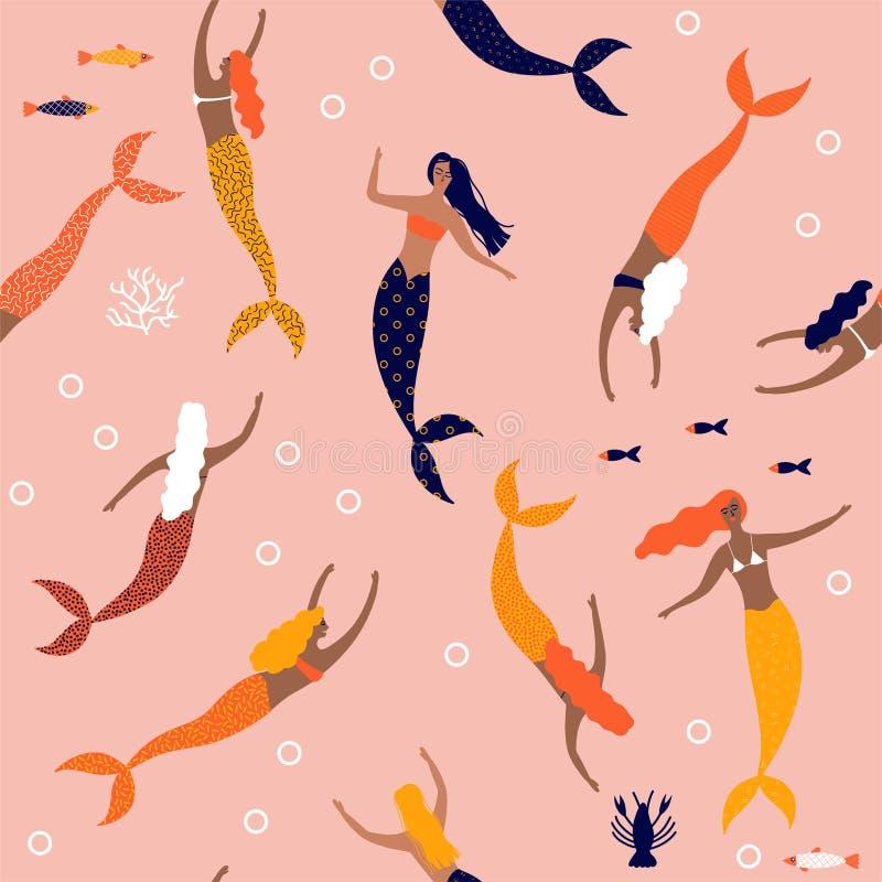 与美人鱼的夏天无缝的样式在海传染媒介例证下 库存例证