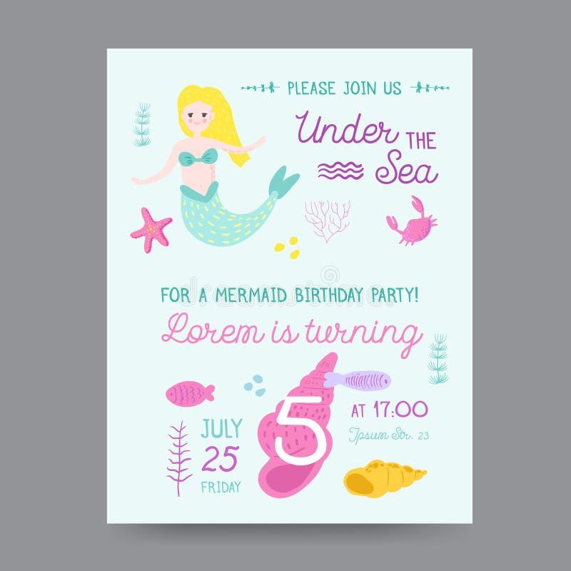 与美人鱼的幼稚生日邀请模板 向量例证