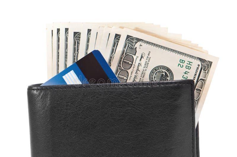 与美元和信用卡的钱包 免版税图库摄影