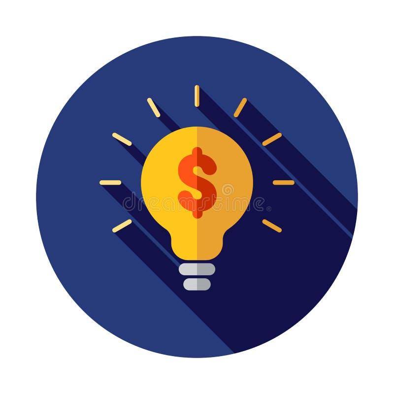 与美元标志企业概念的电灯泡 金钱想法象 3d抽象背景美元图标例证查出白色 向量例证